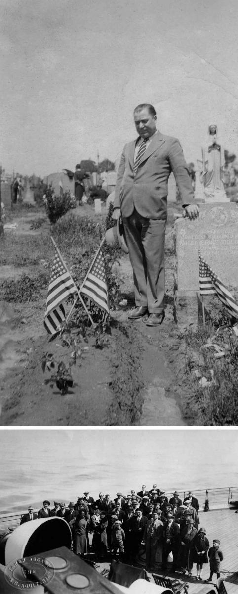 Arriba, Andrés Sánchez, de Bergondo, en un  cementerio de EE UU y el ourensano Adolfo Losada,  con boina negra, entre el pasaje
